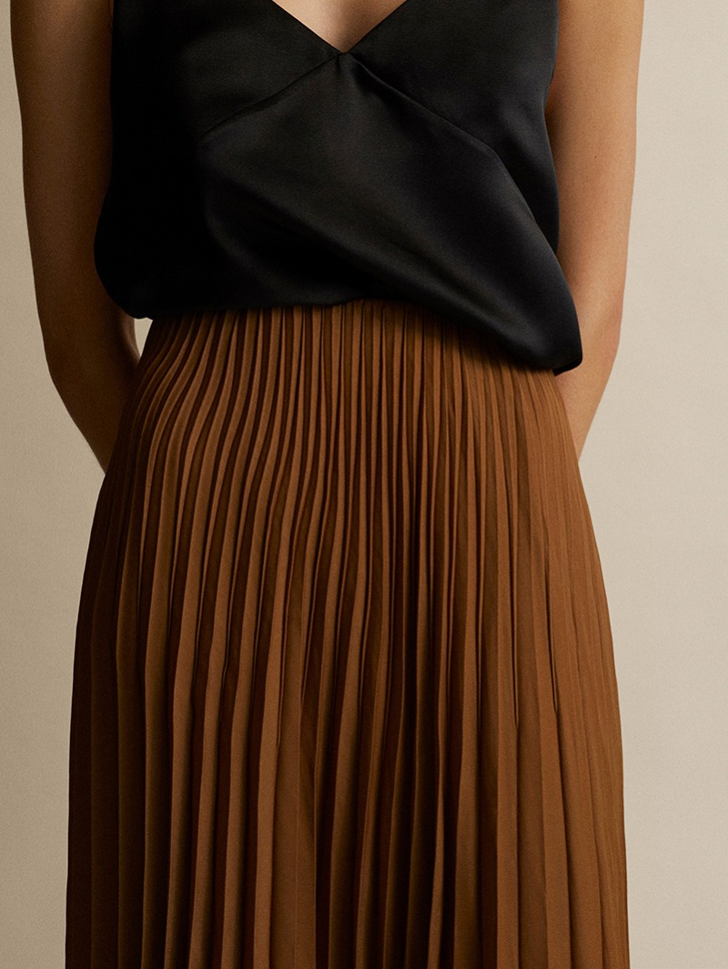 MIDI SKIRT WITH CONTRAST TOPSTITCHING